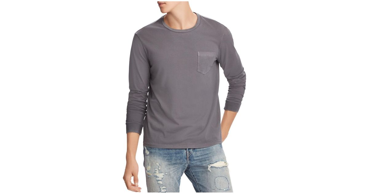 c938174a Lyst - Polo Ralph Lauren Custom Slim Fit Long Sleeve Pocket Tee in Gray for  Men