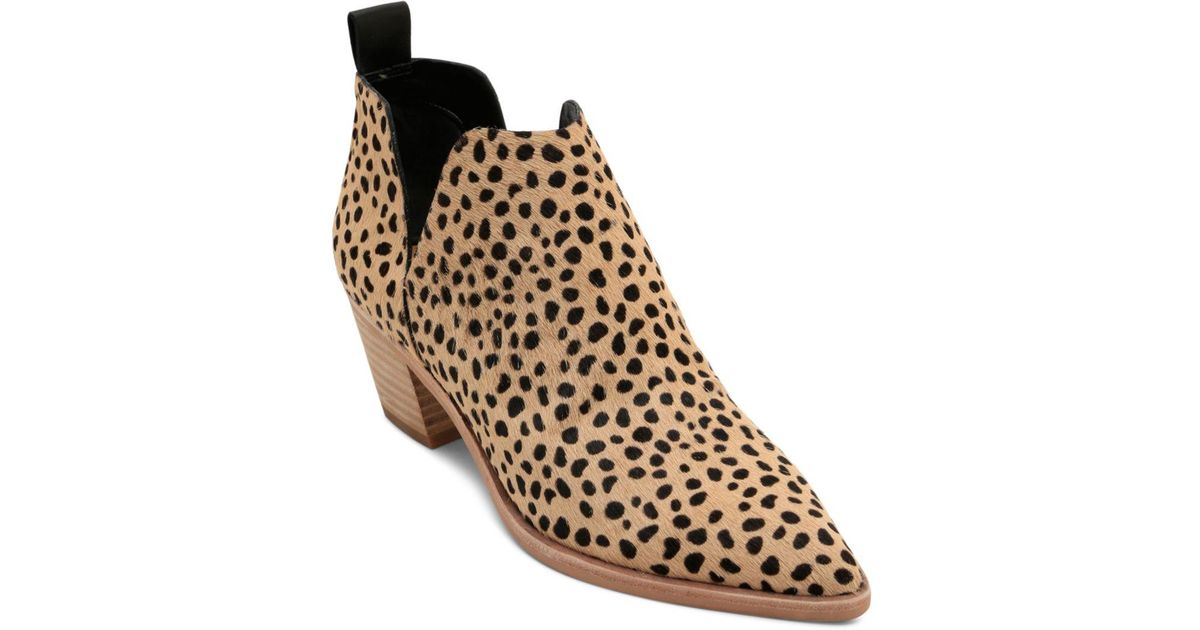3825375a0ab7 Dolce Vita Women s Sonni Leopard Print Calf Hair Ankle Booties in Brown -  Lyst