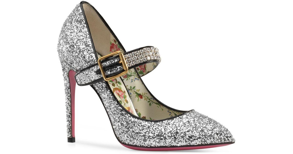 04d1d81db64 Lyst - Gucci Sylvie Glittery Stiletto Mary Jane in Metallic