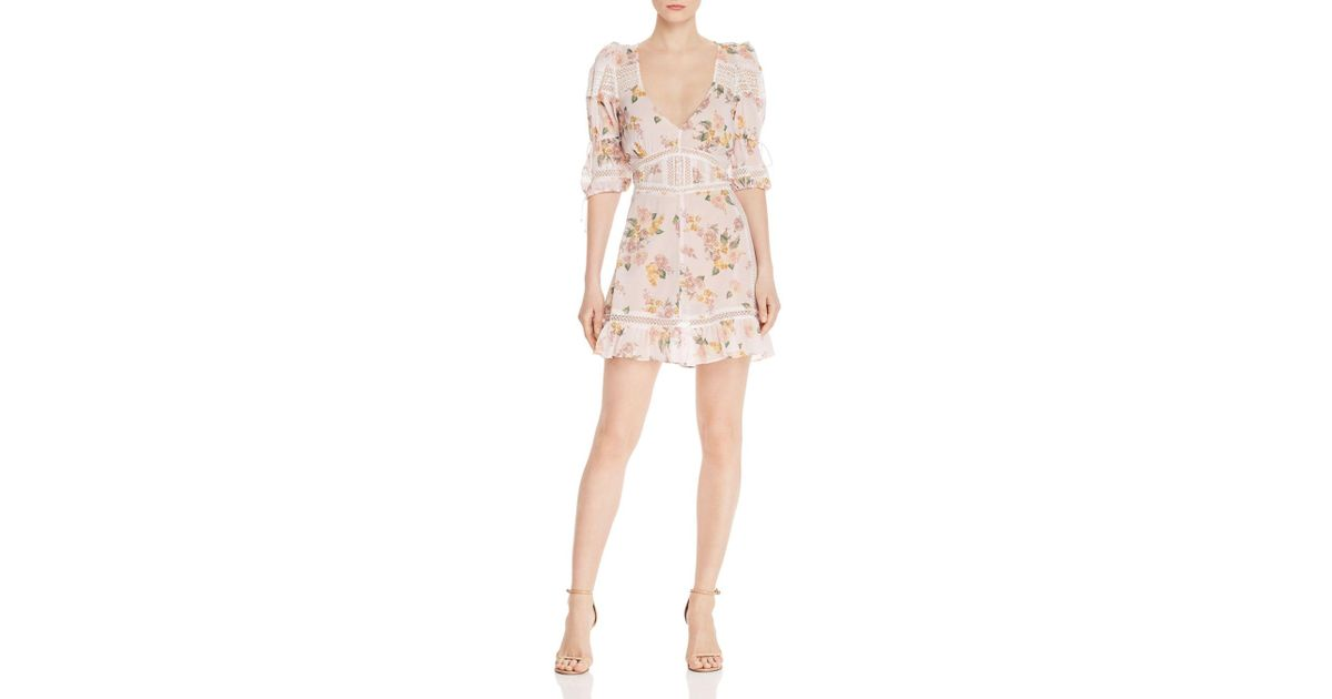 67942a0b2dcb For Love & Lemons Isadora Floral Mini Dress in Pink - Lyst