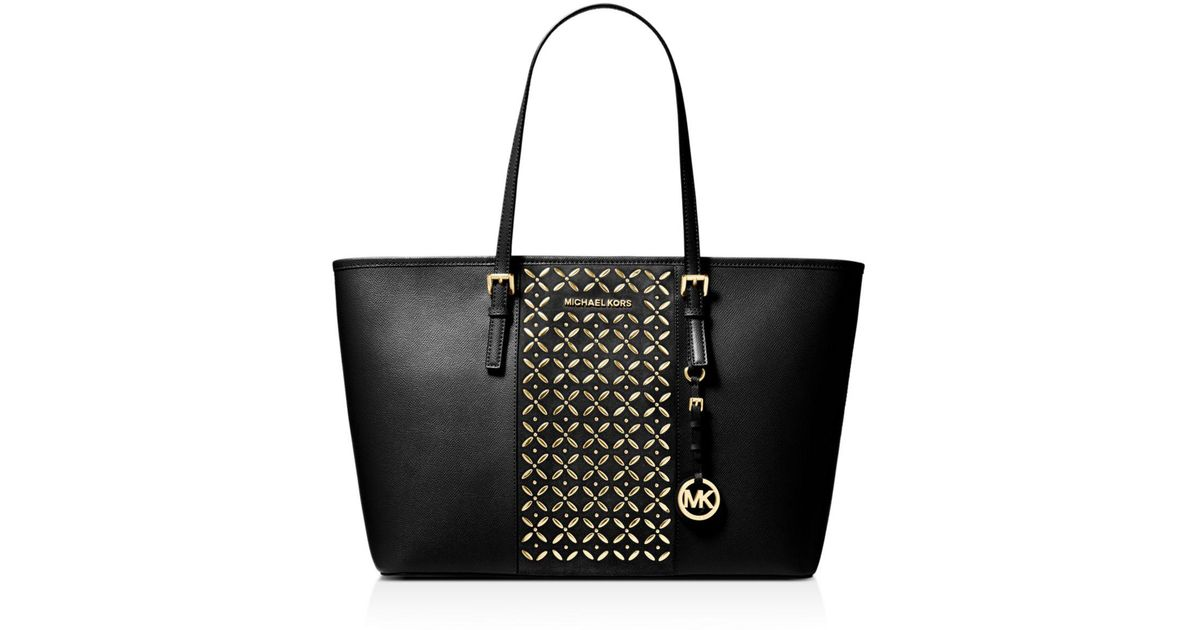 04ae665161e9 MICHAEL Michael Kors Voyager Large Hotfix Leather Tote in Black - Lyst