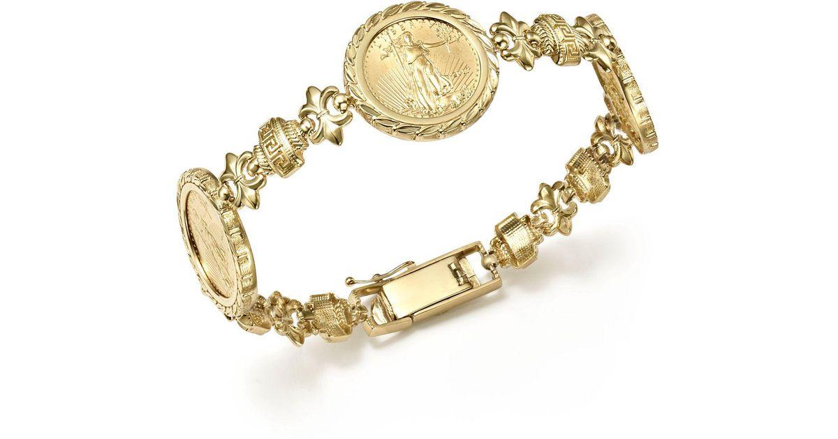 888bf968d985d Bloomingdale's Metallic 14k Yellow Gold Three Coin Bracelet