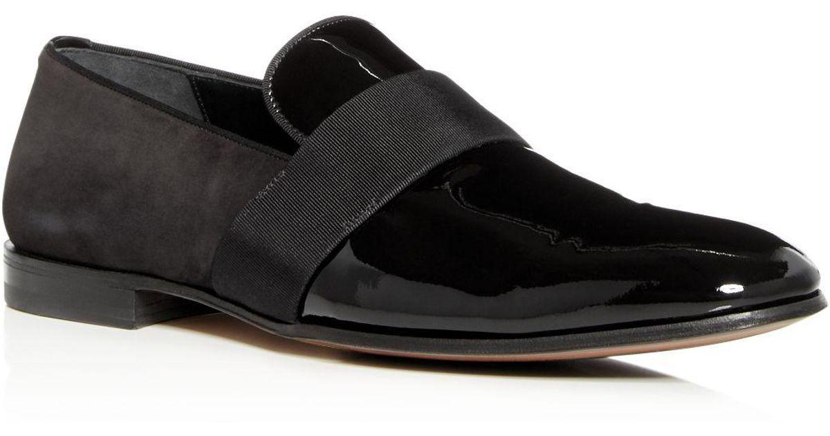Salvatore FerragamoMen's Bryden Suede & Patent Leather Smoking Slippers PaNZMrHs4