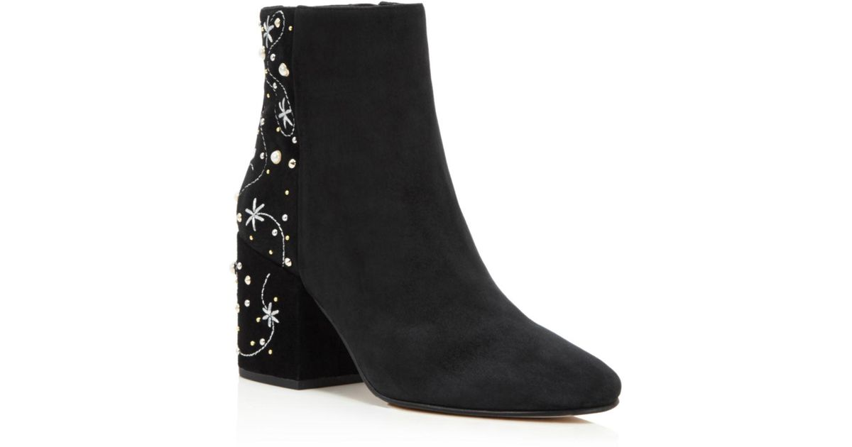 d422908094e246 Lyst - Sam Edelman Taft Embroidered Faux Pearl Stud Boot in Black - Save 17%