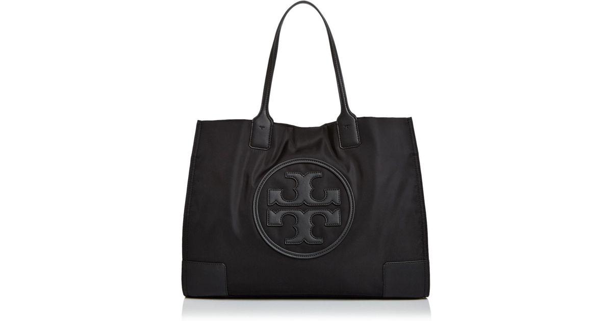 217f0ee1a0ae Lyst - Tory Burch Ella Nylon   Leather Tote in Black