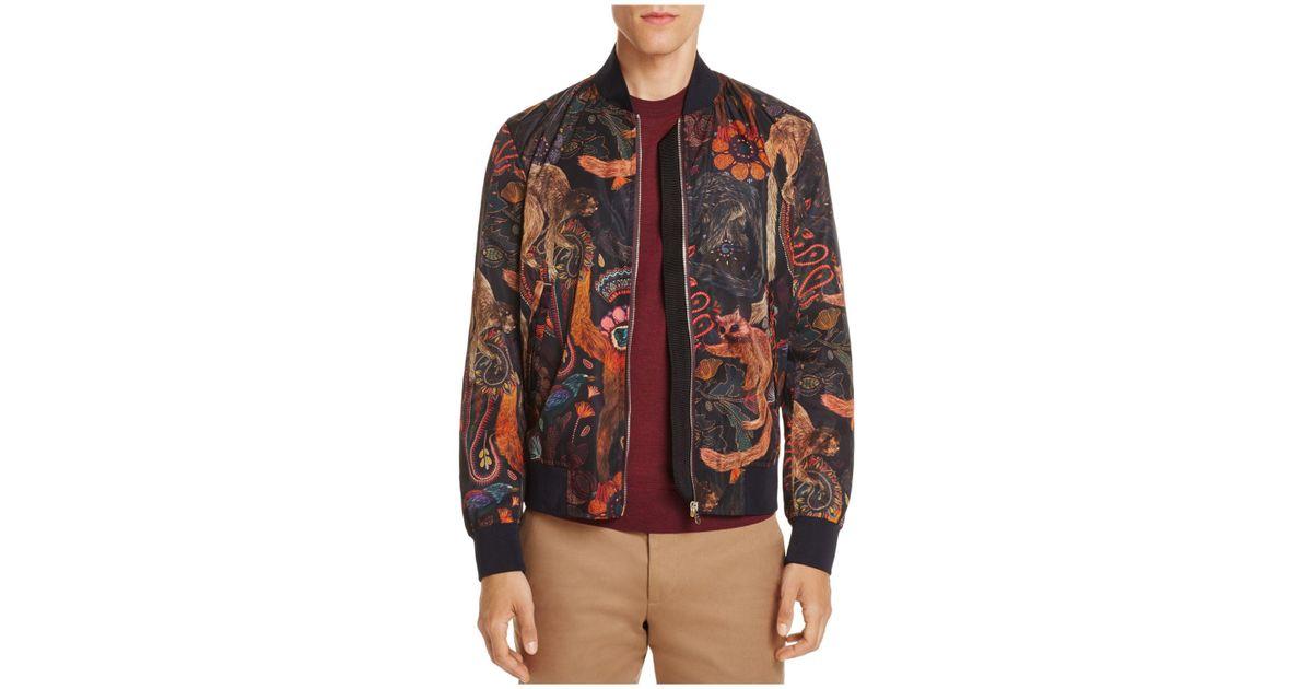98802ac9f Paul Smith Black Monkey Print Bomber Jacket for men