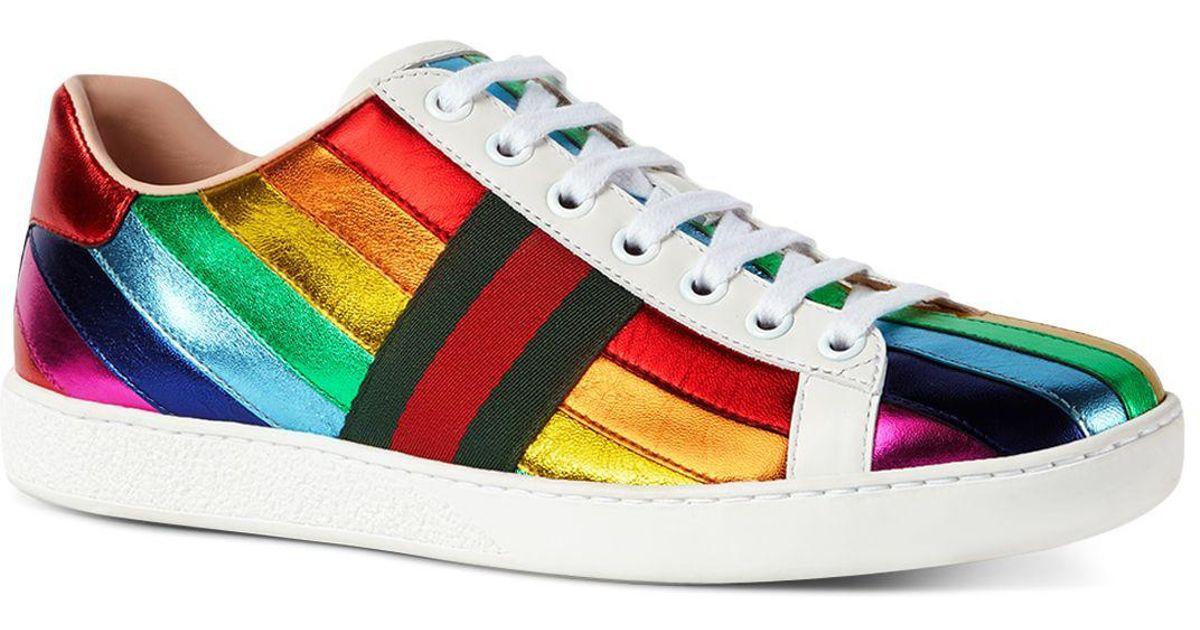Gucci Metallic Rainbow Stripe Lace Up
