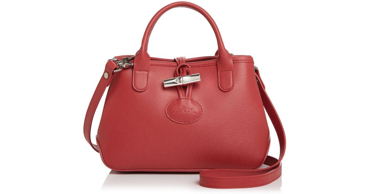 Longchamp Red Roseau Mini Leather Crossbody