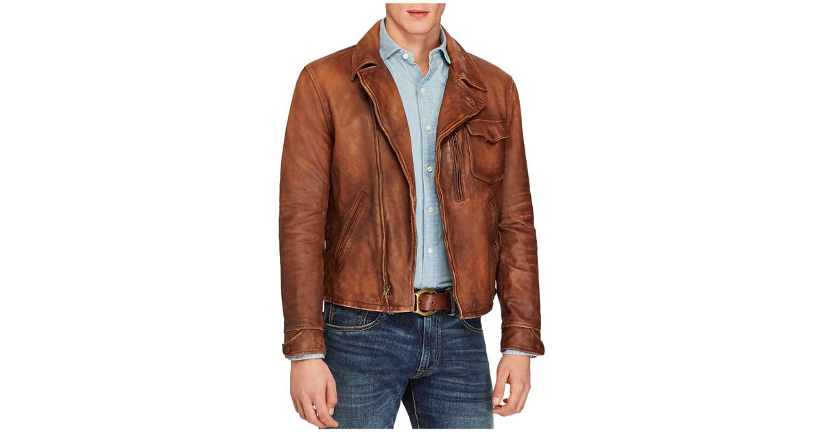 Polo Lauren Ralph Jacket Leather Men Lambskin For Brown fb6vY7gy