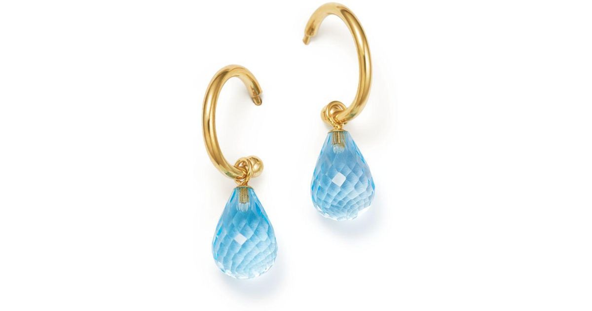Lyst Bloomingdale S Blue Topaz Briolette Hoop Drop Earrings In 14k Yellow Gold