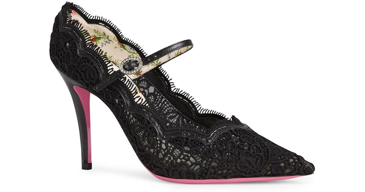 e2851c40cbe Gucci - Black Virginia Leather And Lace Mary Jane Pointed Toe Pumps - Lyst