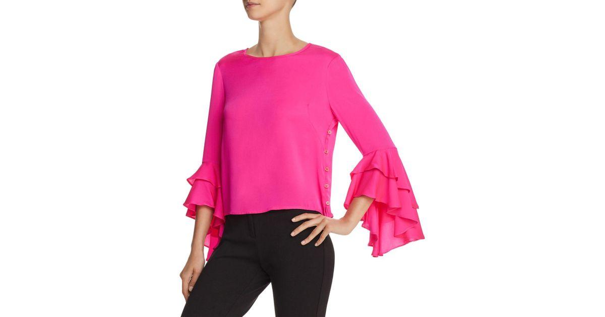 c5432d5b005beb MILLY Gabby Stretch-silk Top in Pink - Lyst