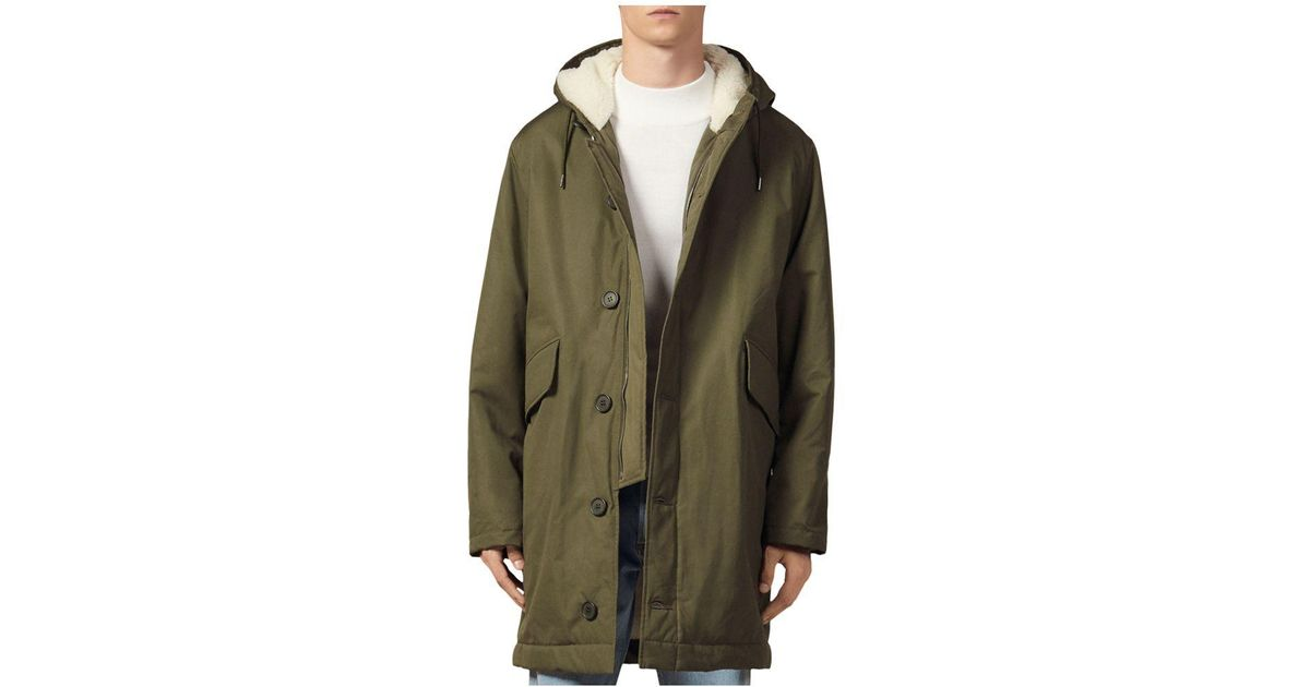 Sandro Cotton Minimal Sherpa Lined Parka in Olive Green ...