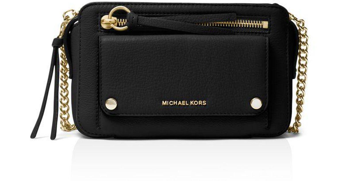f32ec88af548 MICHAEL Michael Kors Mitchell Medium Leather Crossbody in Black - Lyst
