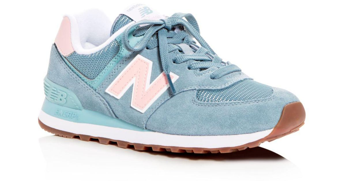 new product 02633 6a614 New Balance Blue Women's Classic 574 Summer Dusk Nubuck Leather Lace Up  Sneakers
