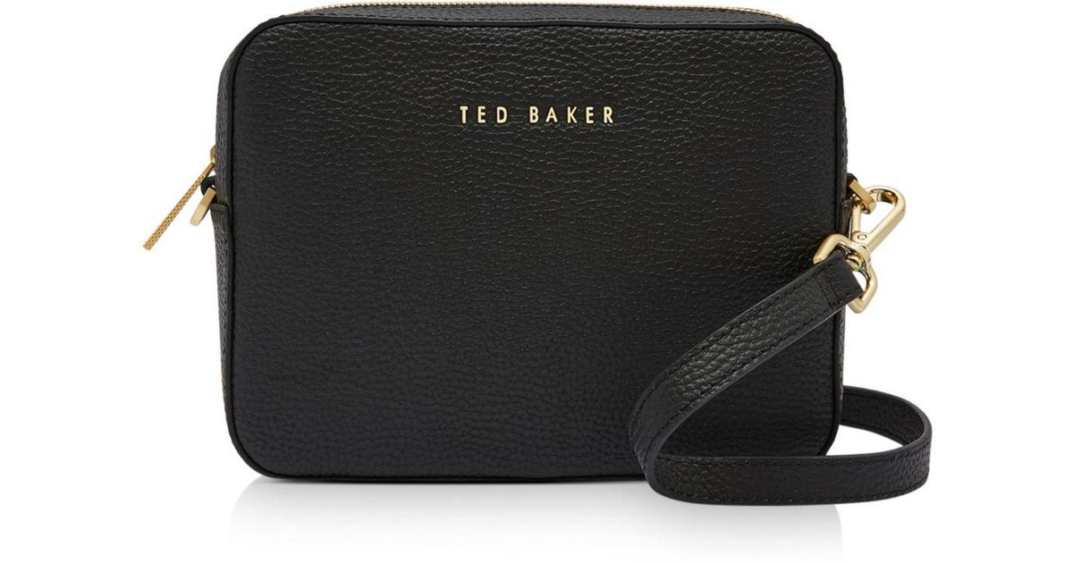 f5c73cd83024 Lyst - Ted Baker Saphire Soft Leather Camera Bag in Black