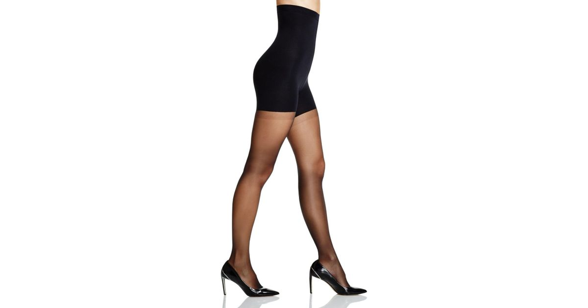 c622a6921d7 Spanx Luxe Leg High Waisted Sheer Tights in Black - Lyst