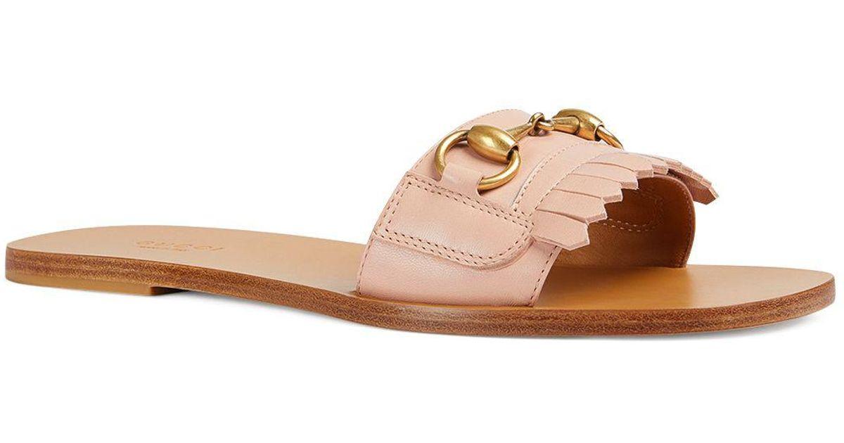 Varadero Fringe Leather Slide Sandals