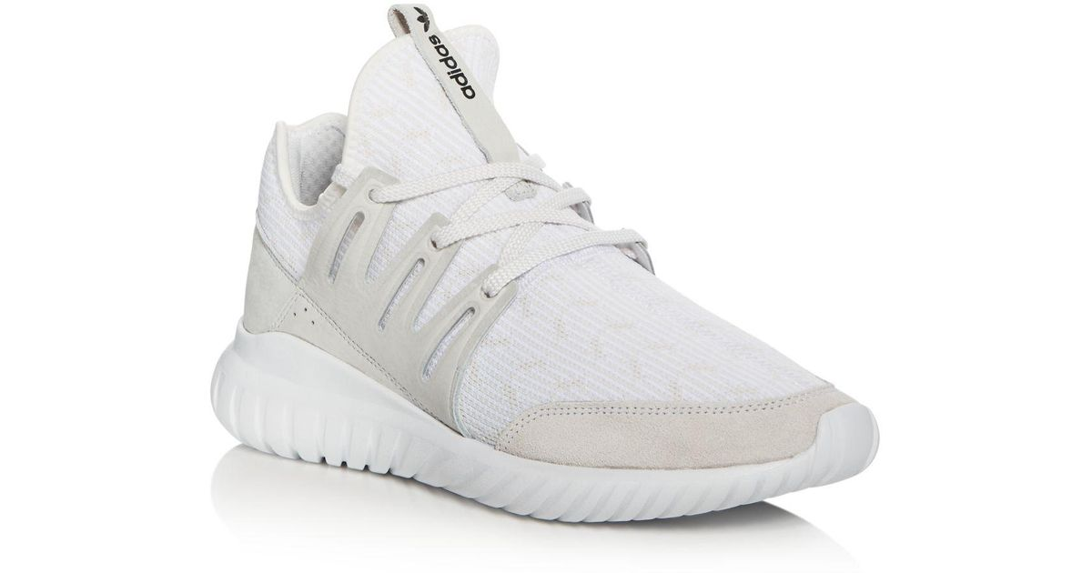 huge selection of 9e7e3 62cfd Adidas Originals White Tubular Radial Pk Lace Up Sneakers for men