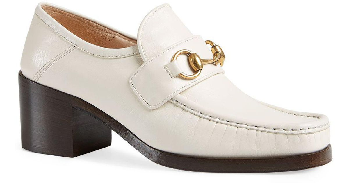 75af2b92b42 Lyst - Gucci Women s Vegas Leather Mid Heel Loafers in White