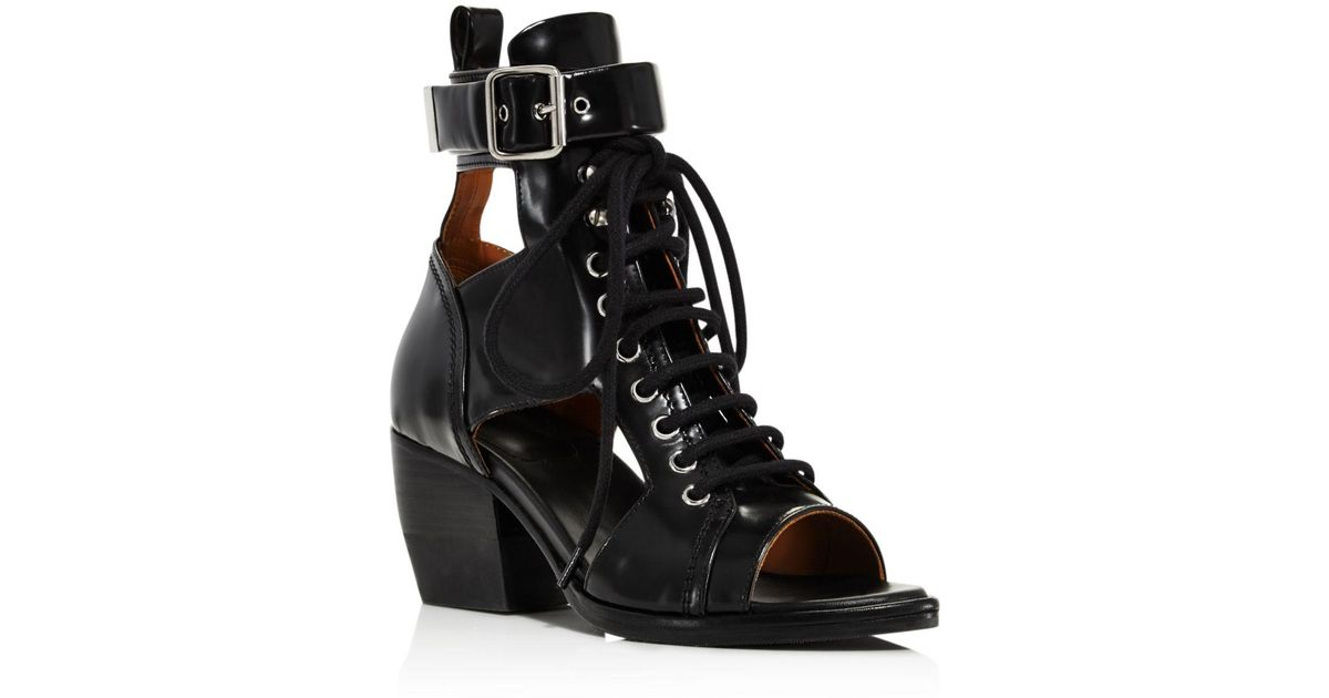 f46f0150 Chloé Black Women's Rylee Leather Open - Toe Lace Up Booties