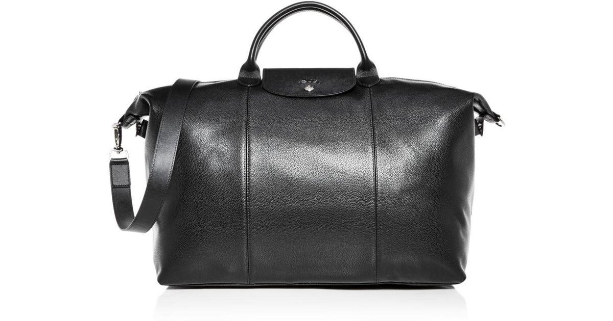 0b43a6b212a7 Lyst - Longchamp Le Foulonné Leather Duffel Bag in Black for Men