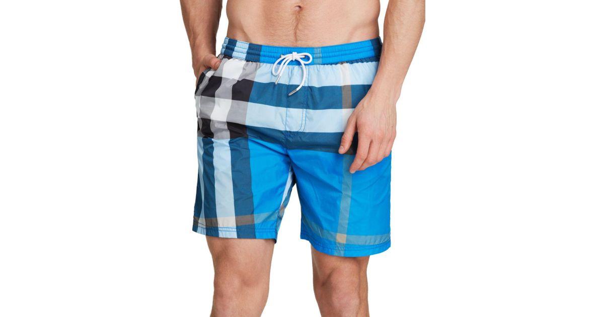 36b56994d97ec Lyst - Burberry Gowers Check Swim Trunks in Blue for Men