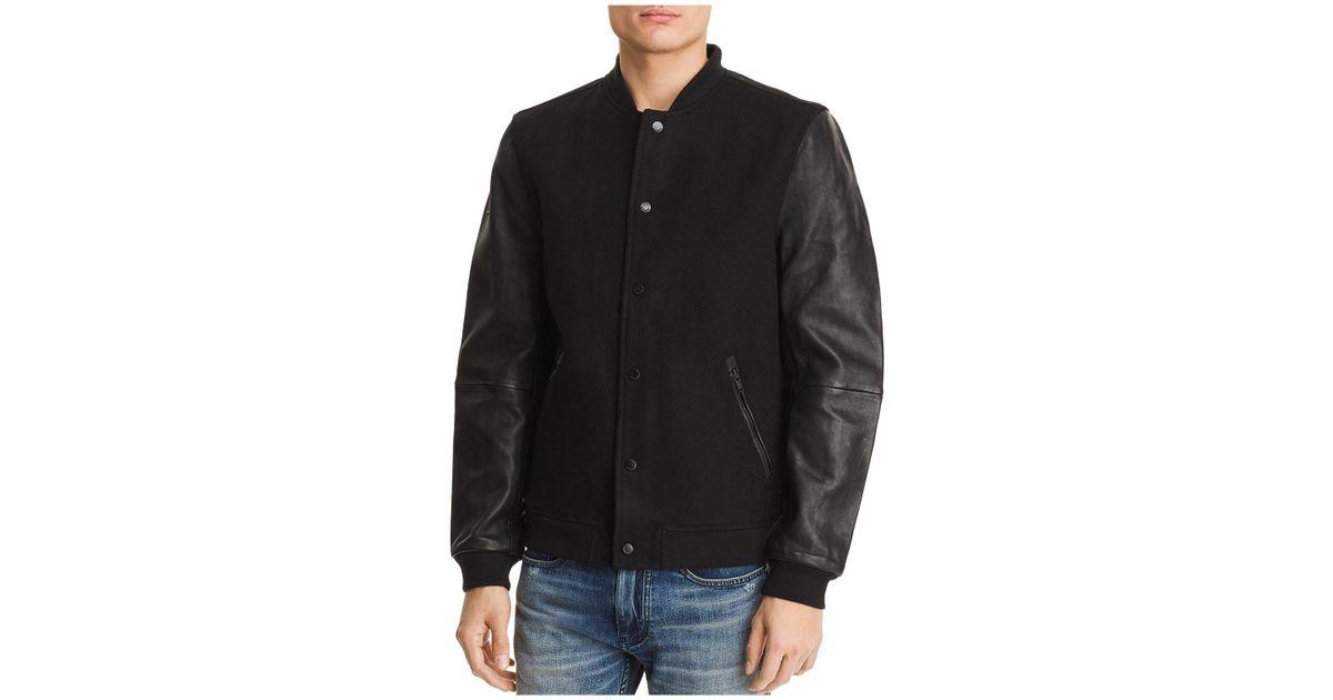 e5ccdbb23 Superdry Black Varsity Leather Bomber Jacket for men