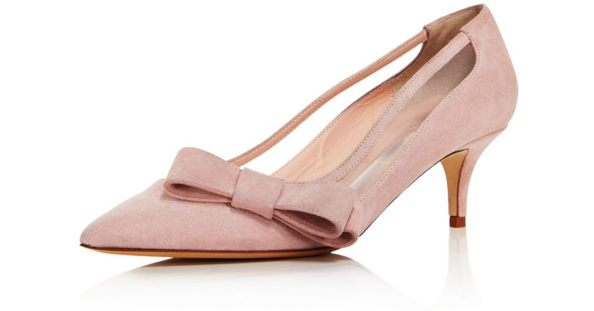 2526f5c6a74d Lyst - Kate Spade Women s Mackenzie Suede Bow Mid-heel Pumps in Pink