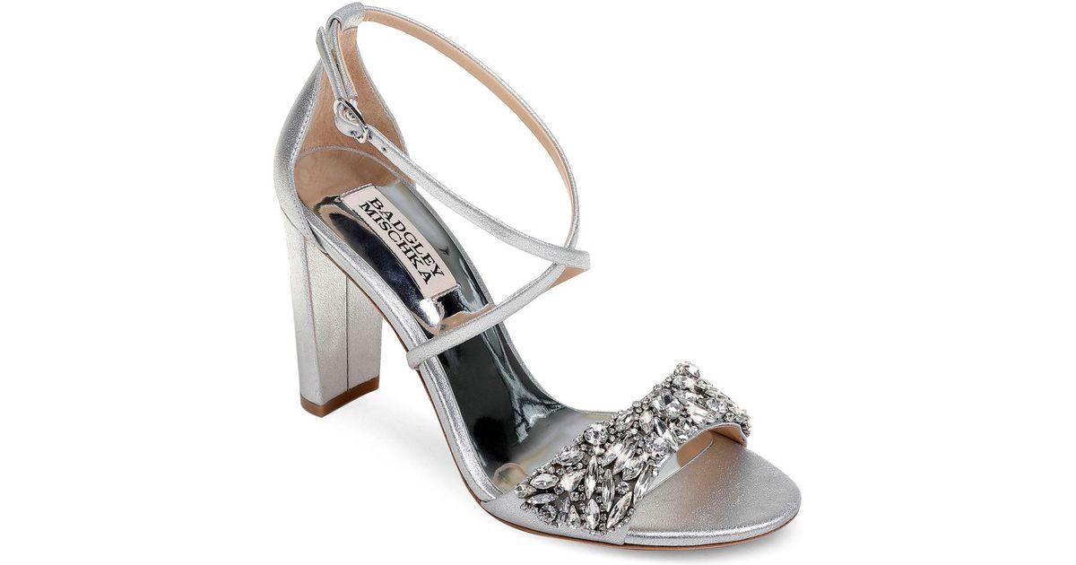 Badgley Mischka Women's Harper Embellished Satin Crisscross Strap Sandals TWRCBxYB1x