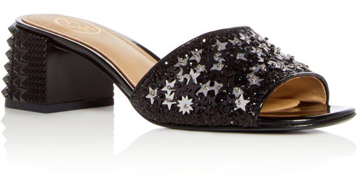e5f8c9dee8a Lyst - Ash Women s Ruby Star Embellished Block Heel Slide Sandals in Black