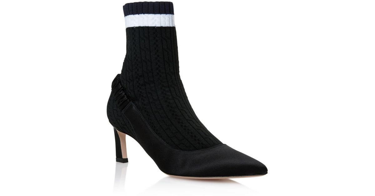 Stuart Weitzman Women's Sockette Satin & Knit Pointed Toe Sock Booties Rb3MHEwVc