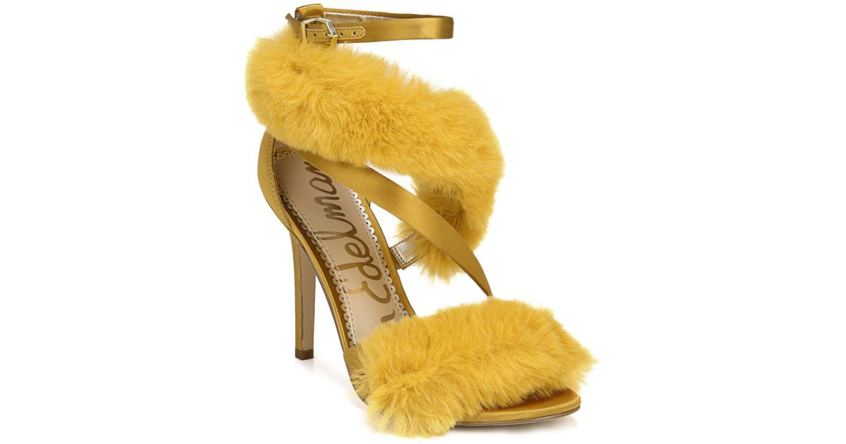 87eab21a531c Lyst - Sam Edelman Adelle Faux Fur Ankle Strap High-heel Sandals in Yellow