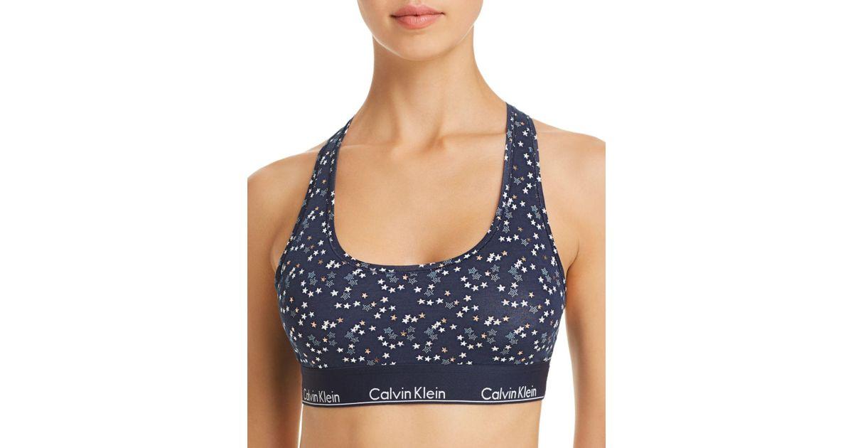 12b850096c Lyst - Calvin Klein Star-print Modern Cotton Bralette in Blue - Save 24%