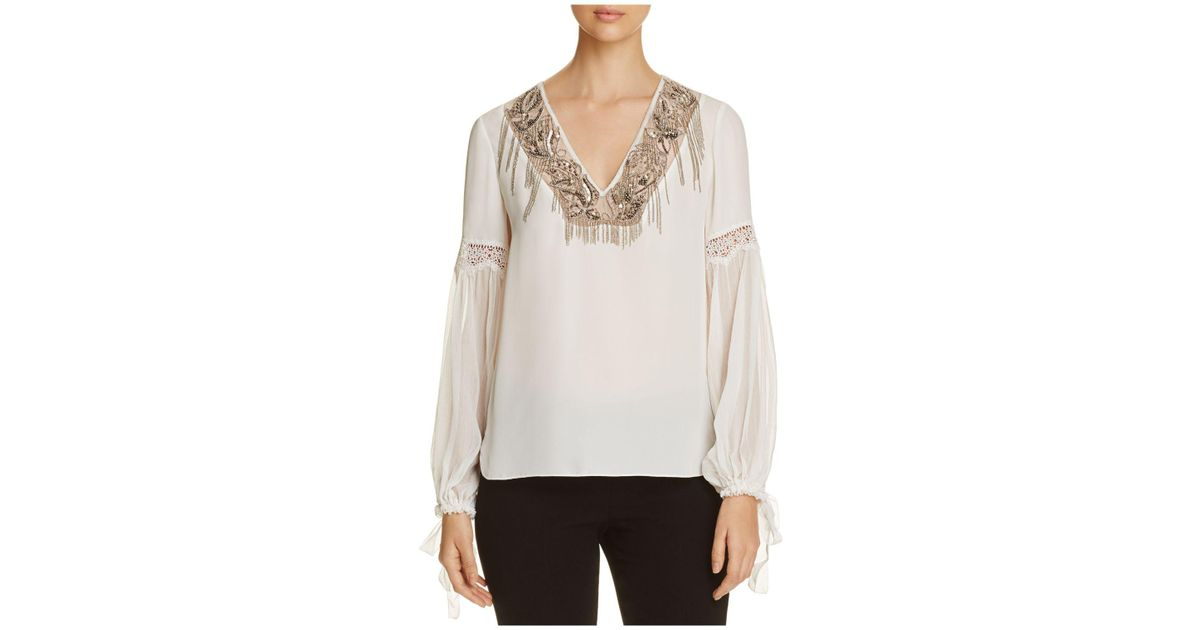 820e01f7fca74 Lyst - Elie Tahari Clementine Embellished Silk Blouse in White