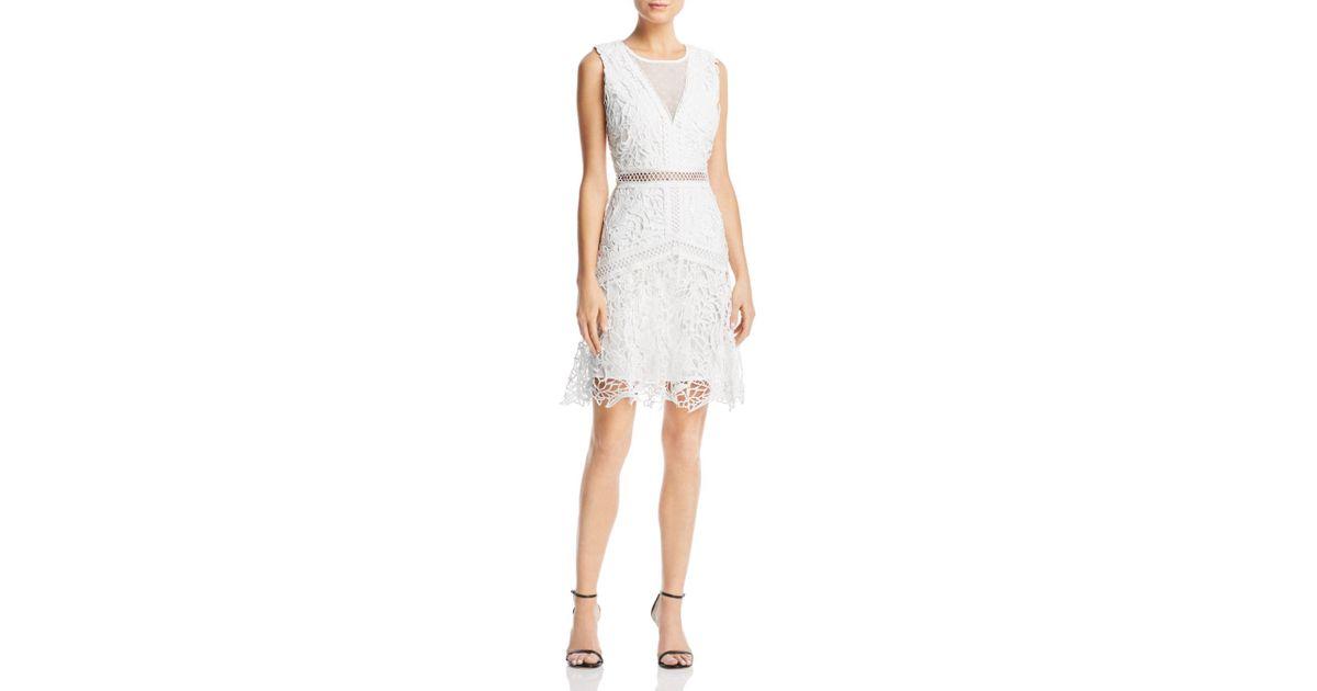 6084fcbe0817 Aqua Swiss Dot-inset Lace Dress in White - Lyst