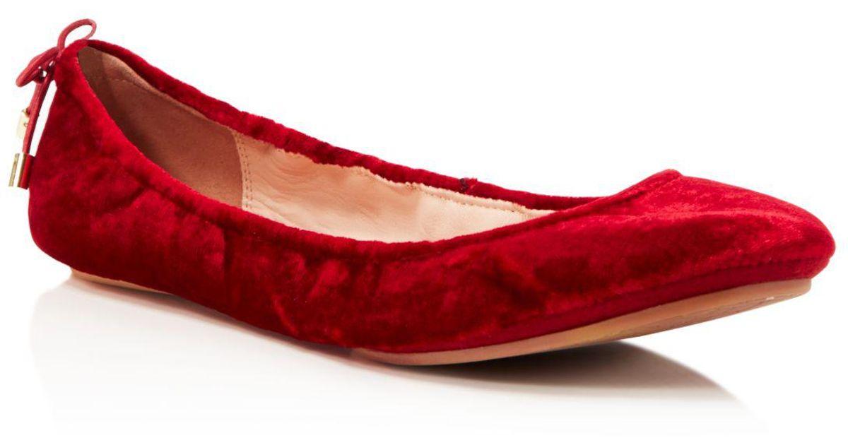 1c443d2f37fc Lyst - Kate Spade Women s Globe Velvet Travel Ballet Flats in Red