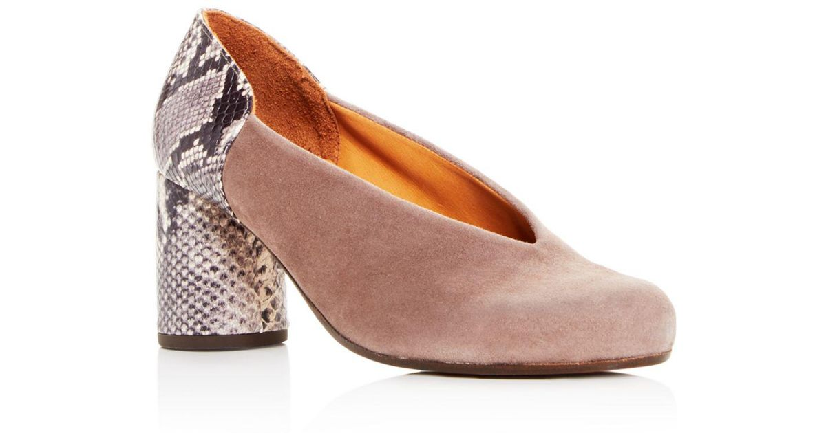 8201293d4e7e4 Chie Mihara Gray Women's Ante Amazon Suede & Snake Embossed Leather  Block-heel Pumps