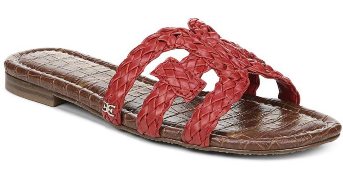 bbc68f4cc62a08 Sam Edelman Women s Beckie Woven Slide Sandals in Red - Lyst