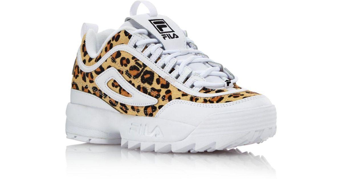 Fila White Women's Disruptor 2 Leopard Sneakers