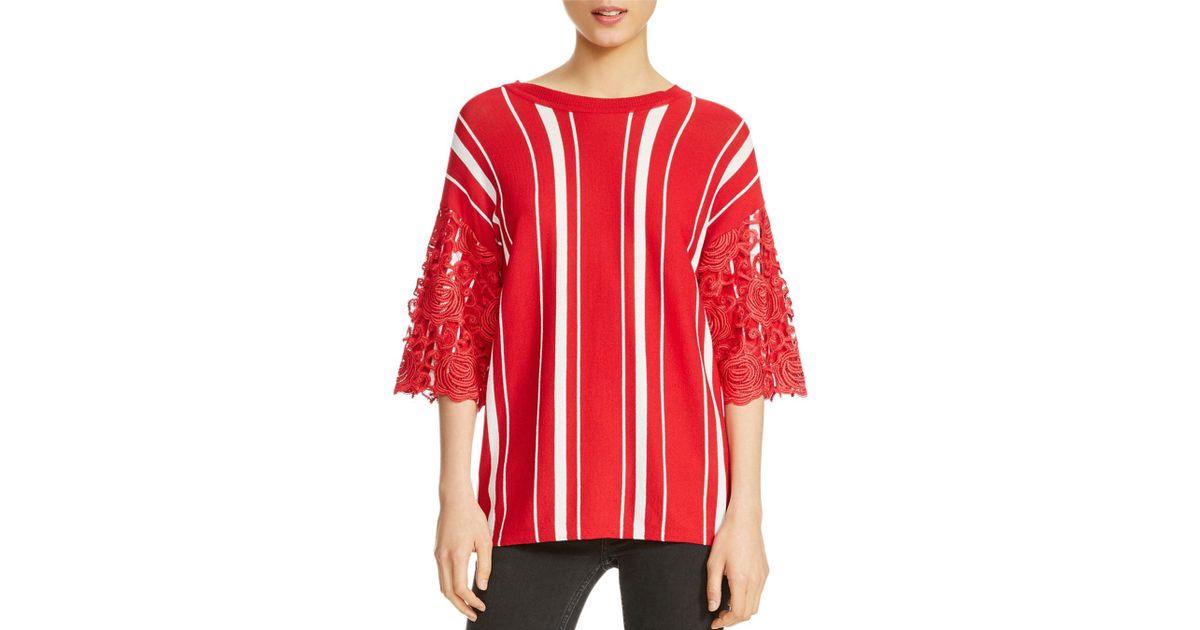 cfb388cb99 Lyst - Maje Molina Striped Lace-trim Sweater in Red