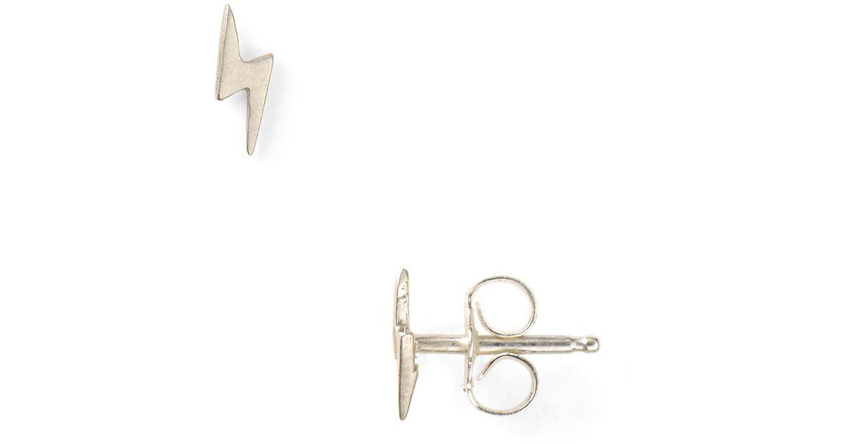 Dogeared Little Things Mini Silver Lightning Bolt Stud Earrings In Metallic Lyst