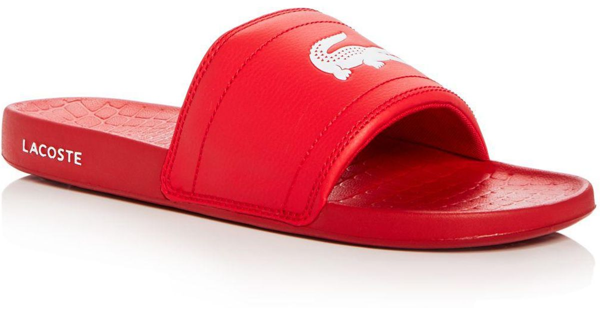 532646b24797d Lyst - Lacoste Men s Fraisier Slide Sandals in Red for Men