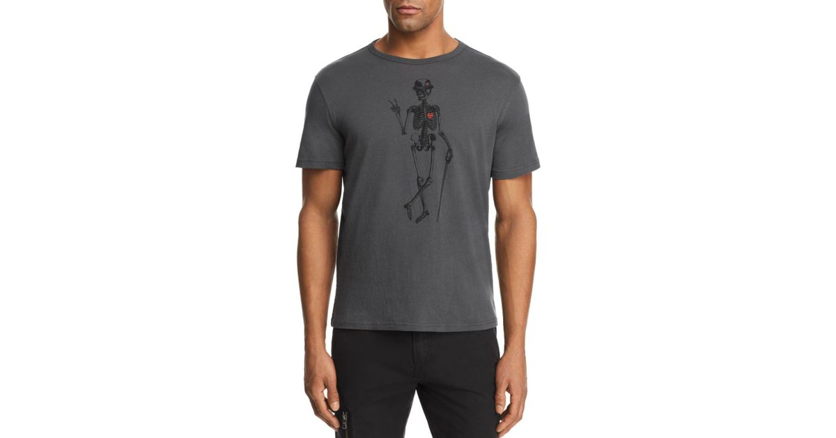 a480caa1 John Varvatos Skeleton Peace Graphic Tee in Gray for Men - Lyst
