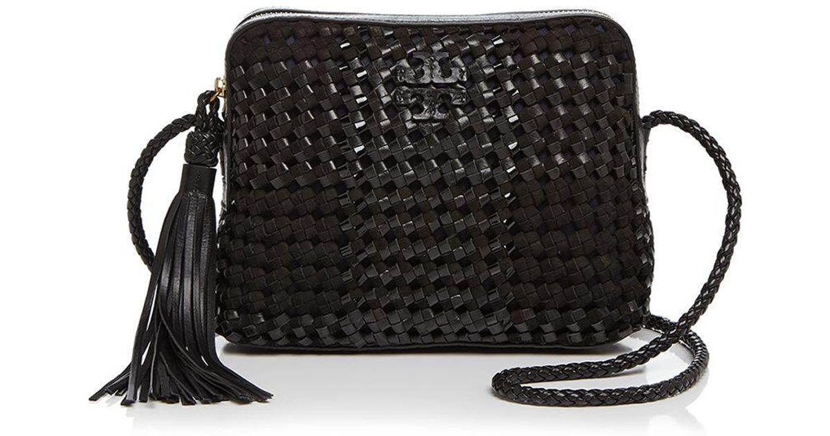 Fabulous Lyst - Tory Burch Taylor Woven Leather Camera Bag in Black CP09