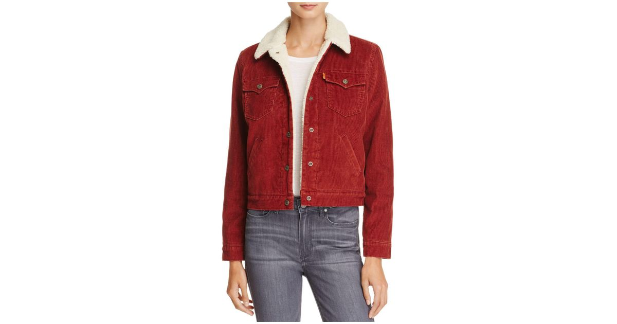 Relatively Lyst - Levi'S Corduroy Sherpa-lined Trucker Jacket in Red VE55