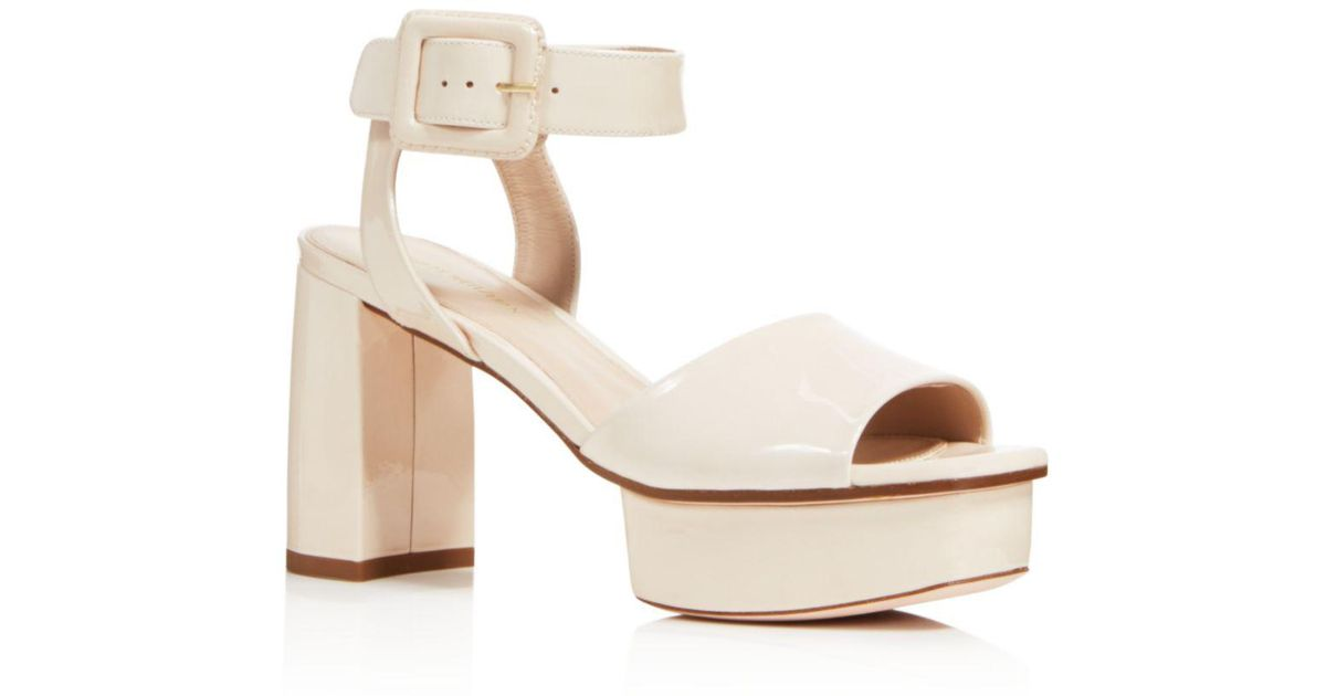 b5ab8ea4b08 Lyst - Stuart Weitzman Women s Newdeal Leather Platform Ankle Strap Sandals  in Natural