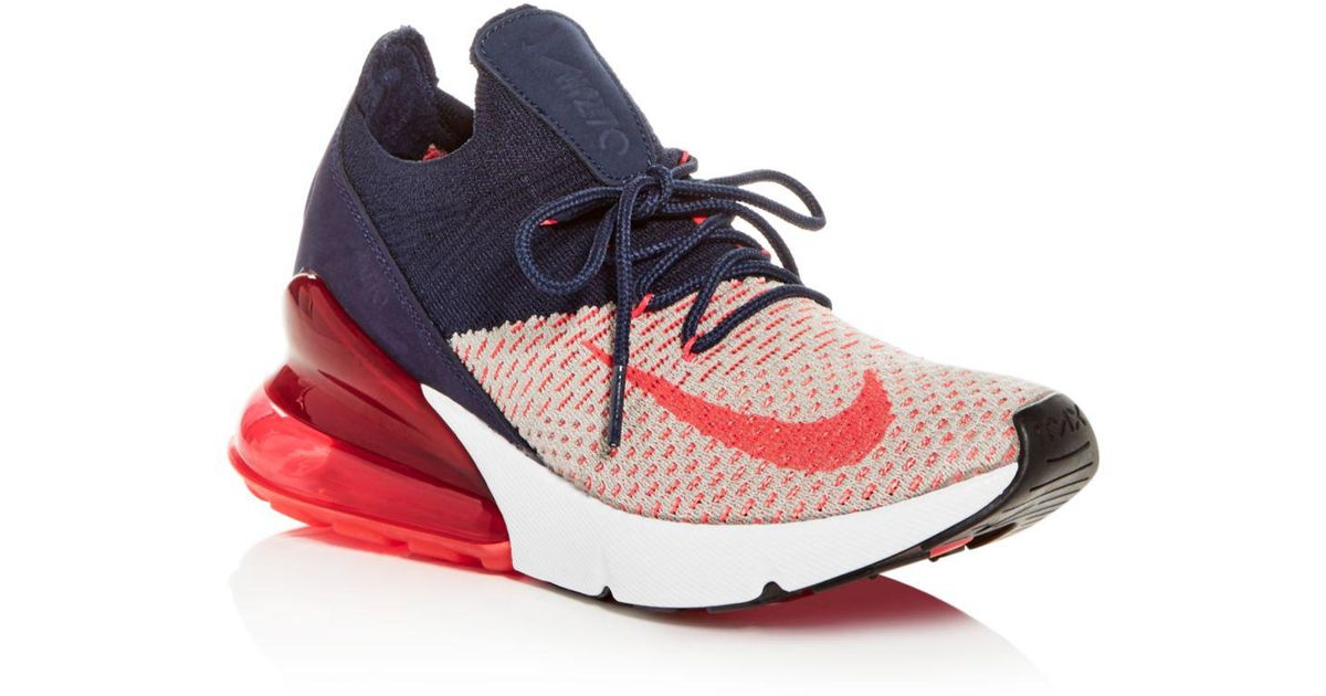 Nike Blue Women's Air Max 270 Flyknit Lace Up Sneakers