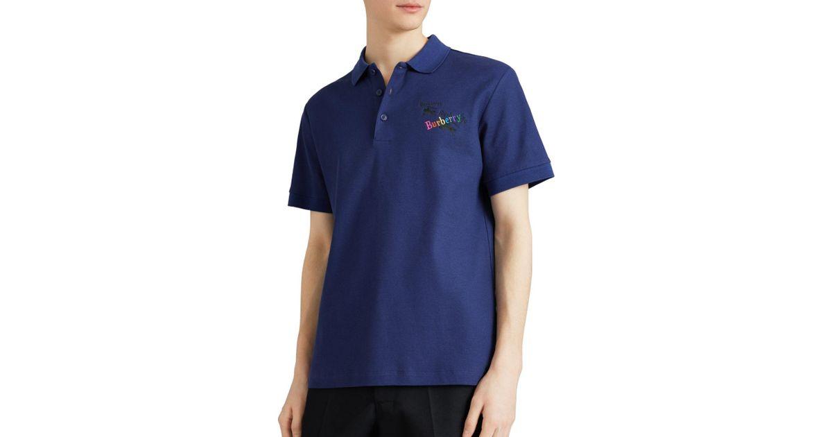 85377d700 Burberry Burnton Regular Fit Polo Shirt in Blue for Men - Lyst