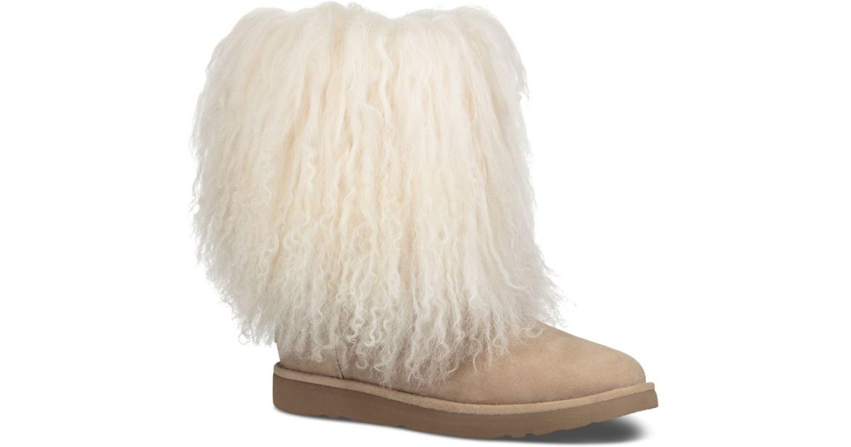 b1a222f8013 Ugg Natural Women's Lida Suede & Curly Sheepskin Booties